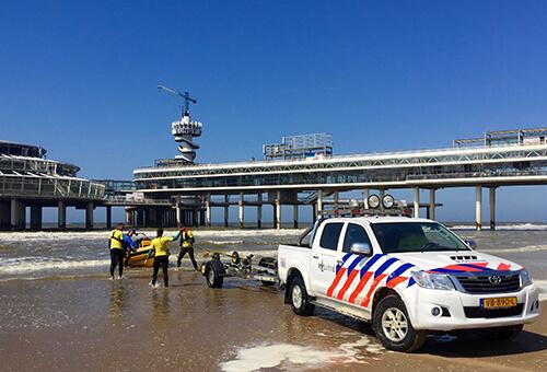 politie-trailer-oefening-pier